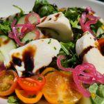 Mozzarella, Heirloom Tomatoes, Cucumber, Arugula, Pickled Onions, Balsamic VinaigretteVegetarian