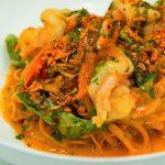 capellini with prawns and arugula