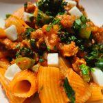 rigatoni pepper sauce sausage brocollini